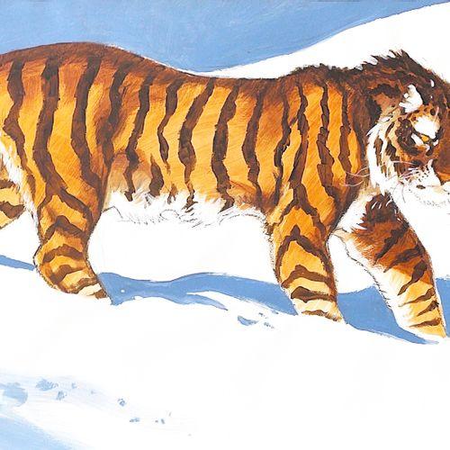 FRANK PE Le tigre, dessin original au fusain, à la gouache et à l'aquarelle très…