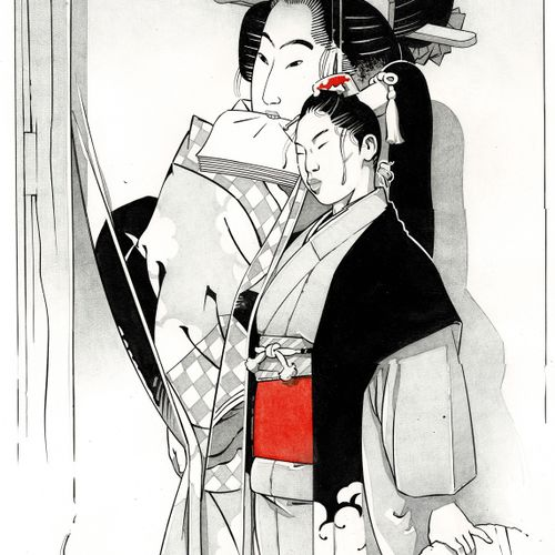 MICHETZ Kogaratsu, Geishas, Dessin original très grand format à l'encre de chine…