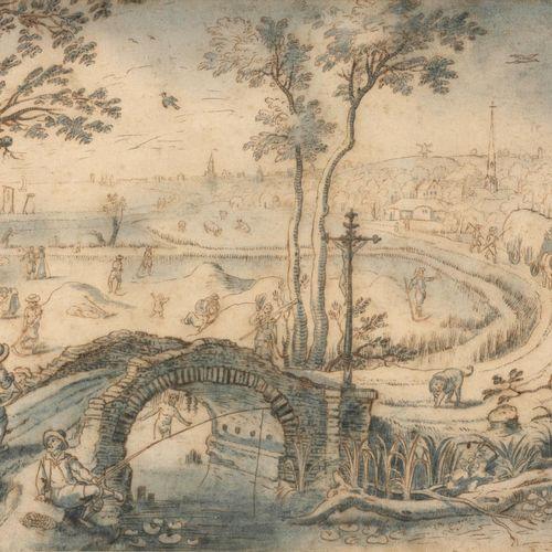 [VRANCX, Sebastian (1573 1647) attributed to] Scène de village représentant les …