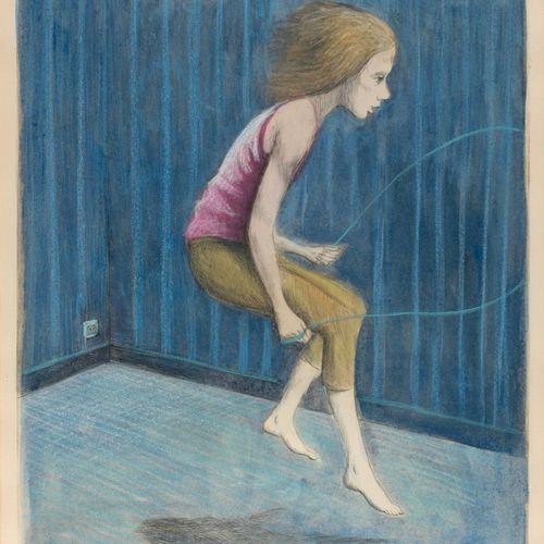 DEVOLDER, Roland (1938) Touwtje springen in een kleine ruimte  Ets (50 x 39.5 cm…