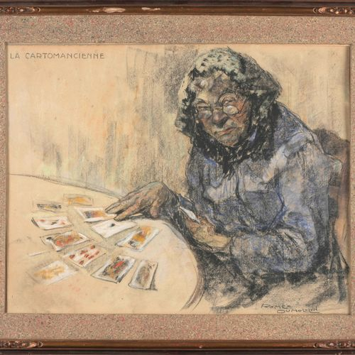 DUMOULIN, Romeo (1883 1944) La cartomancienne  Pastel (33 x 43 cm), signé en bas…