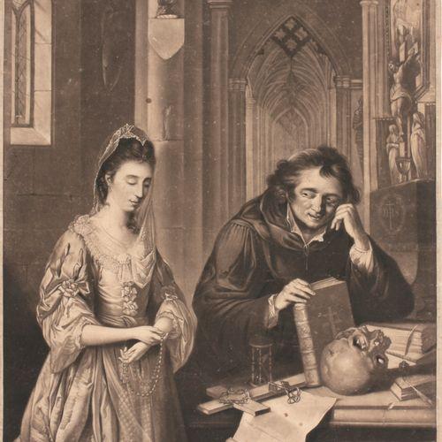 [AQUATINT] Lady at confession  Aquatint (56 x 40.5 cm) van R. Laurie naar W. Mül…