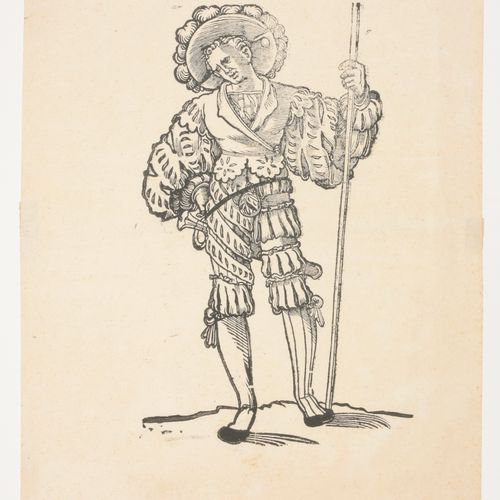 [BEHAM, Hans Sebalt (1500 1550)] Attr. Landsknecht  Woodcut (36.5 x 27 cm) with …
