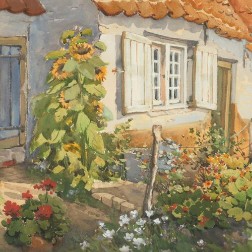 RECKELBUS, Louis (1864 1958) La Panne. Maisons de pêcheurs  Aquarel en gouache (…