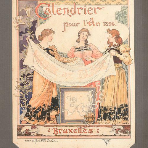 VAN ACKER, Flori (1858 1940) Calendrier pour l'An 1896 pour Maison de Blanc  Tek…
