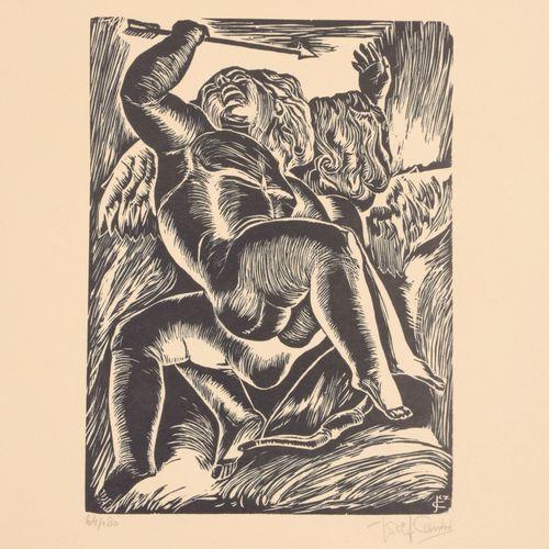 CANTRÉ, Jozef (1890 1957) Spelende kinderen  Originele houtsnede (23 x 17 cm) op…
