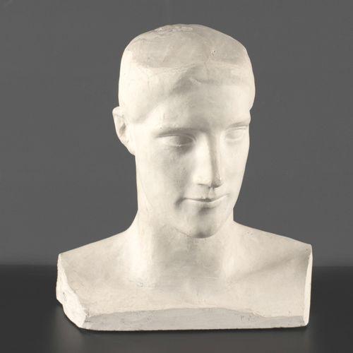 MINNE, Georges (1866 1941) Hoofd van een jongeman  Sculptuur in plaaster, hoogte…