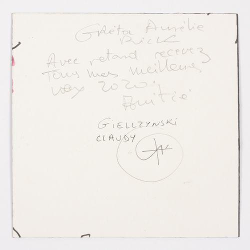 GIELLZYNSKI, Claudy (XXe) 彩色构成(2020年)  纸板上的水彩画(20 x 20厘米),背面有签名