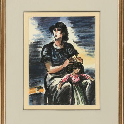 MASEREEL, Frans (1889 1972) 残疾人  Aquarel (30 x 23 cm), getekend links onder.报道的内…