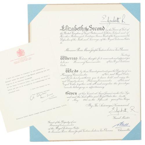 [DIPLOMA ELIZABETH II] 'Honorary Commander of Our Royal Victorian Order' voor Pi…