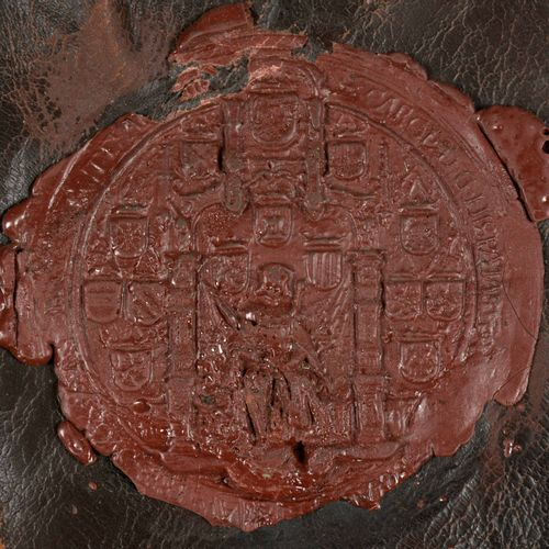 [CHARLES V] Great seal of Emperor Charles V  Red wax seal, on leather, mounted o…