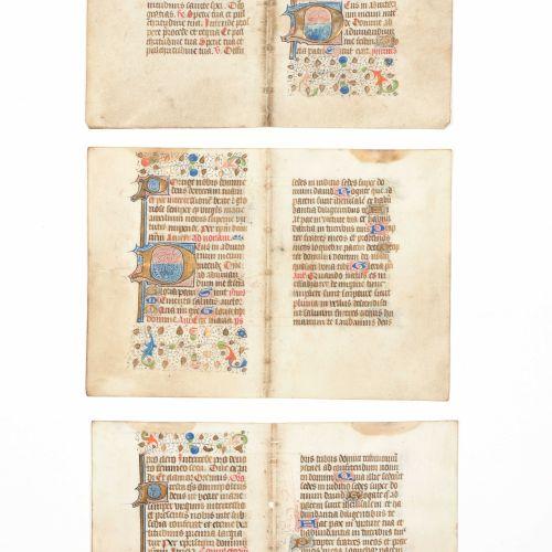 [MINIATUURBLADEN] Verzameling van 6 rijk versierde bladen uit een Frans 15de eeu…