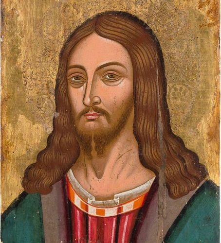 UN GRAND PANTOKRATEUR DE CHRIST VENETO CRETAIN, environ 1500 tempera sur un pann…