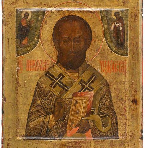 UNE ICÔNE MONTRANT ST. NICHOLAS DE MYRA Russe, Tempera du XVIIe siècle sur panne…