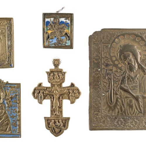 A CRUCIFIX AND FOUR BRASS ICONS SHOWING SELECTED SAINTS Russian, 17th 19th centu…