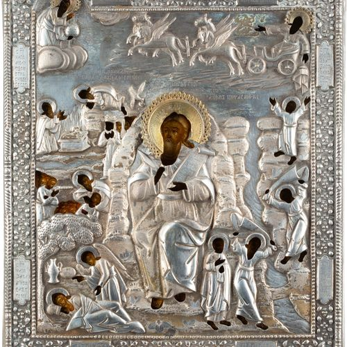 AN ICON SHOWING EPISODES FROM THE LIFE OF THE PROPHET ELIJAH IN THE DESERT AND H…