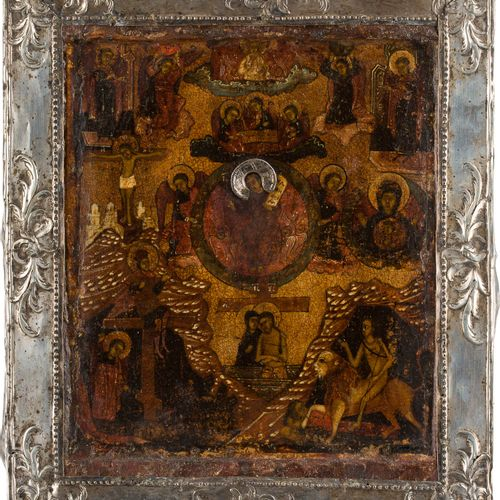 A RARE ICON SHOWING CHRIST 'ONLY BEGOTTEN SON' WITH A SILVER BASMA Russian, 18th…