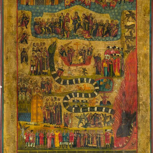 A MONUMENTAL ICON SHOWING THE LAST JUDGEMENT Russian, Vetka, 19th century Temper…