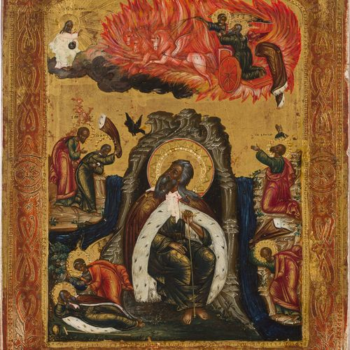 AN ICON SHOWING THE PROPHET ELIJAH IN THE DESERT AND HIS FIERY ASCENT TO HEAVEN …