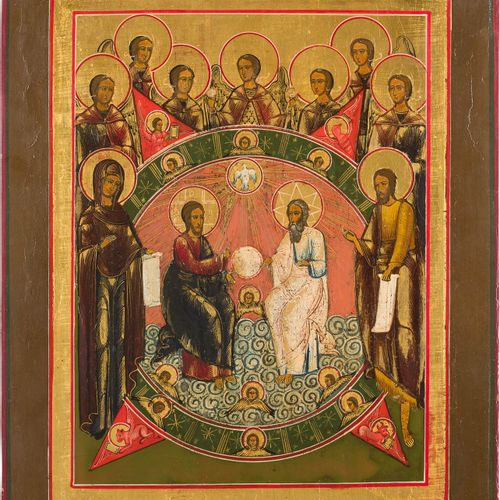 A LARGE ICON SHOWING THE NEW TESTAMENT TRINITY Russian, 19th century Tempera on …