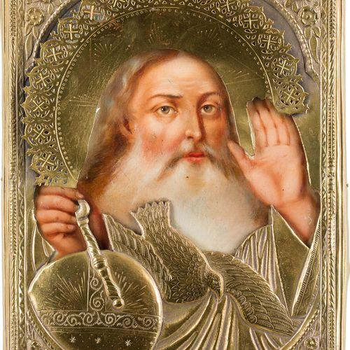 A RARE ICON SHOWING GOD FATHER WITH OKLAD Russian, 2nd half 19th century Oil on …