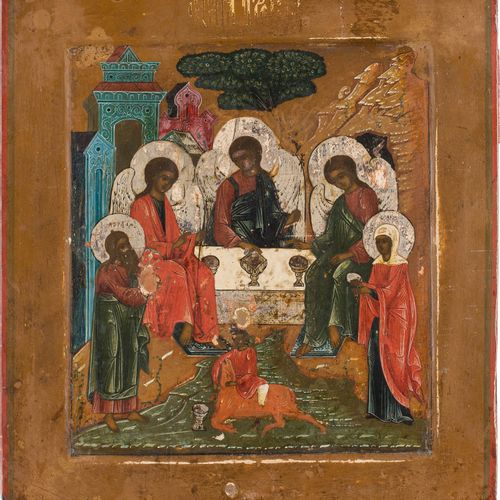 AN ICON SHOWING THE OLD TESTAMENT TRINITY Russian, 19th century Tempera on wood …