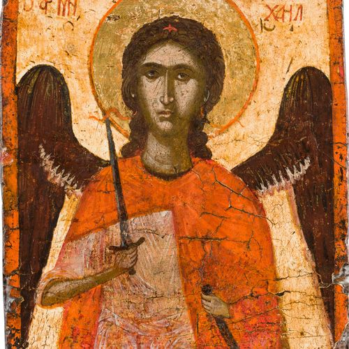 A SMALL ICON SHOWING THE ARCHANGEL MICHAEL Greek, circa 1500 Tempera on wood pan…
