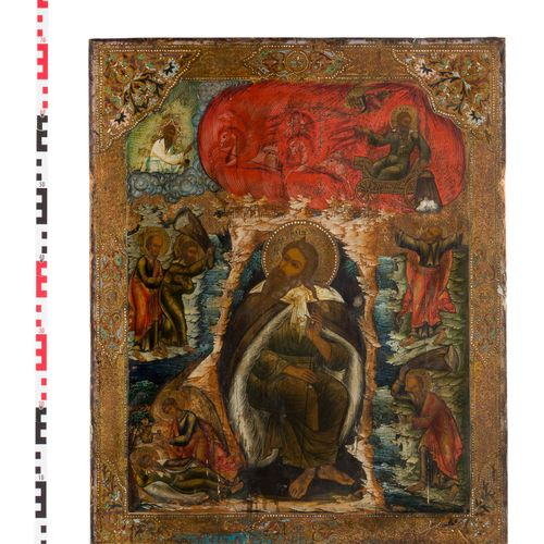A MONUMENTAL ICON SHOWING THE PROPHET ELIJAH, HIS LIFE IN THE DESERT AND HIS FIE…