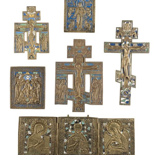 TRIPTYCH SHOWING DEISIS, THREE CRUCIFIXES AND TWO BRASS ICONS SHOWING DEISIS AND…