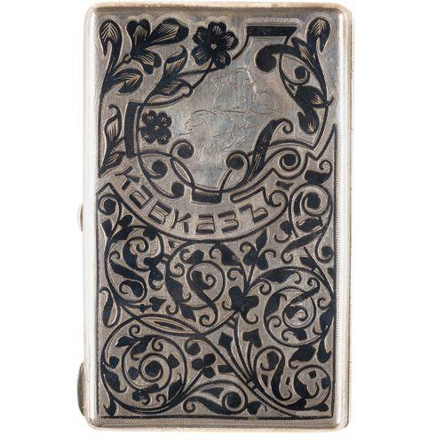 A SILVER AND NIELLO CASE 'KAVKAZ' Russian, Kiev, 1908 1917 Of rectangular form. …
