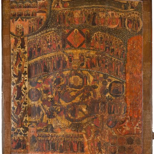 AN IMPORTANT AND MONUMENTAL ICON SHOWING THE LAST JUDGEMENT Russian, 17th centur…