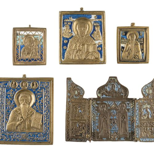 TRIPTYCH AND FOUR BRASS ICONS SHOWING SELECTED SAINTS Russian, ca. 1800 19th cen…