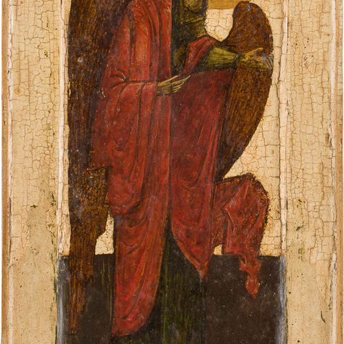 A FRAGMENT OF AN ICON SHOWING THE ARCHANGEL MICHAEL Russian, 19th century Temper…