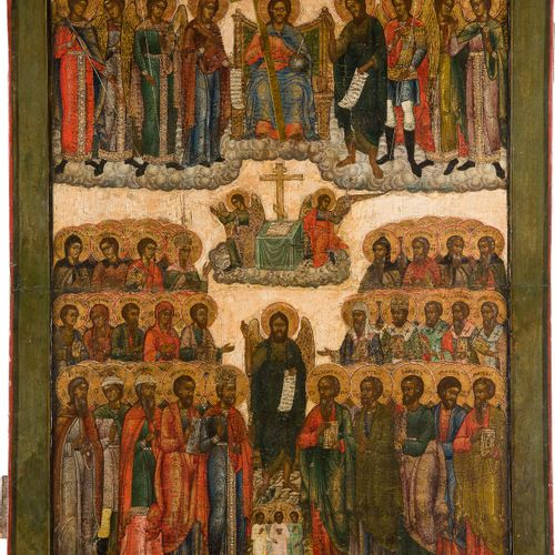 A MONUMENTAL ICON 'ALL SAINTS' Russian, 19th century Tempera on wood panel with …