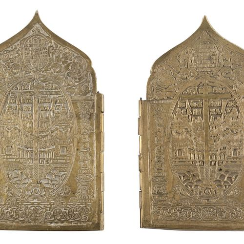 TWU CRUCIFIXES, TWO QUADRIPTYCHS AND A SMALL BRASS ICON SHOWING STS. BORIS AND G…