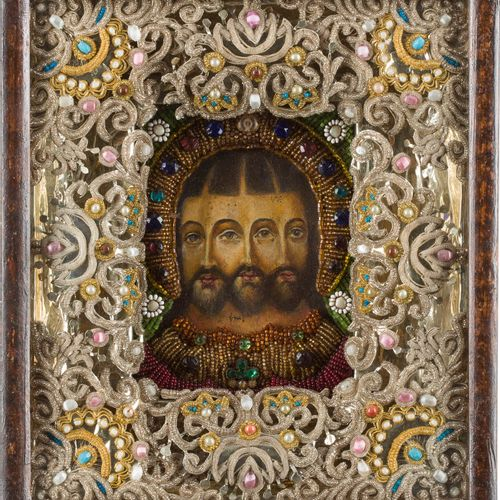A SMALL ICON SHOWING THE TRINITY OF GOD WITHIN A KYOT Russian, 19th/20th century…