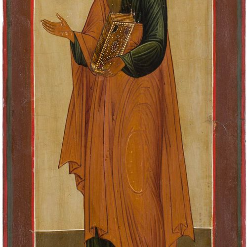 A LARGE ICON SHOWING THE APOSTLE MATTHEW FROM A CHURCH ICONOSTASIS Russian, 19th…