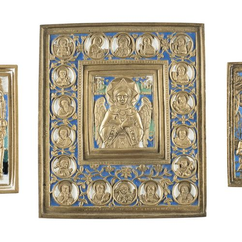THREE BRASS ICONS SHOWING THE IMAGES OF THE MOTHER OF GOD AND CHRIST Russian, 19…