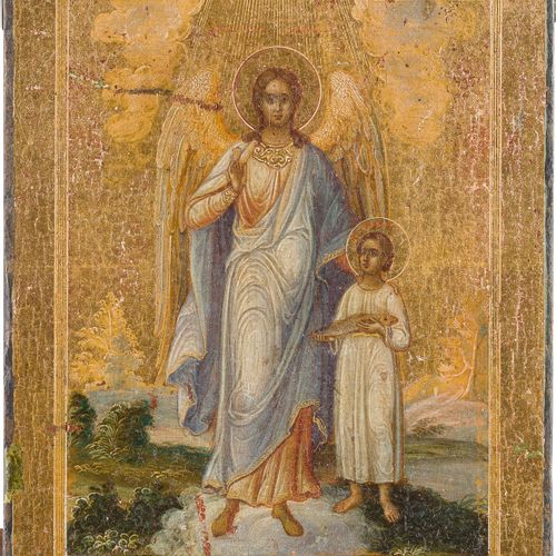 A RARE AND SMALL ICON SHOWING THE ARCHANGEL RAPHAEL AND TOBIAS Russian, 2nd half…
