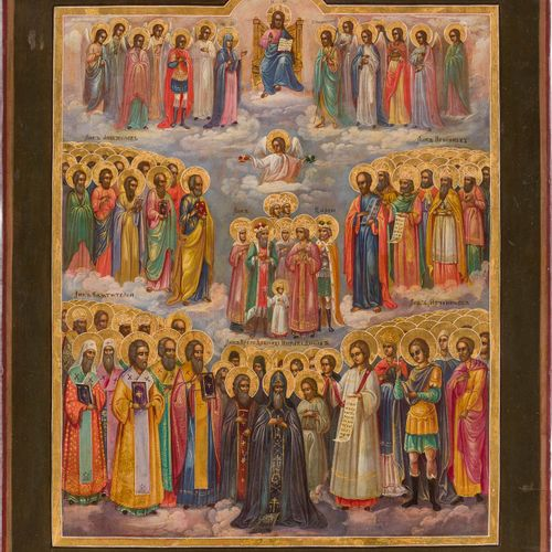 A RARE ICON SHOWING 'ALL SAINTS' Russian, mid 19th century Tempera on wood panel…