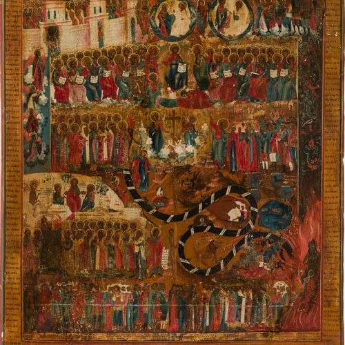 A MONUMENTAL ICON SHOWING THE LAST JUDGEMENT Russian, 19th century Tempera on wo…