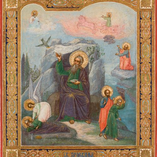 AN ICON SHOWING THE PROPHET ELIJAH, HIS LIFE IN THE DESERT AND HIS FIERY ASCENT …