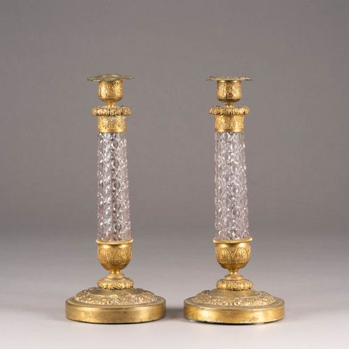 A PAIR OF BRASS AND CUT GLASS CANDLESTICKS Probably Russian, 2nd half 19th centu…