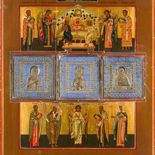 A LARGE STAUROTHEK ICON SHOWING THE DEESIS, THE NEW TESTAMENT TRINITY AND SELECT…