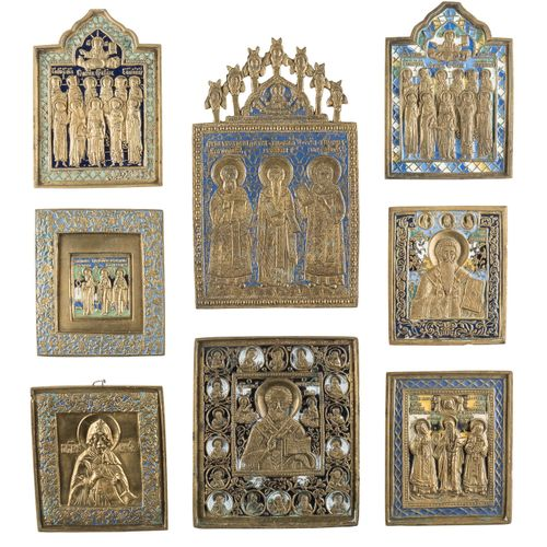 A COLLECTION OF EIGHT BRASS ICONS SHOWING SELECTED SAINTS Russian, ca. 1800 19th…