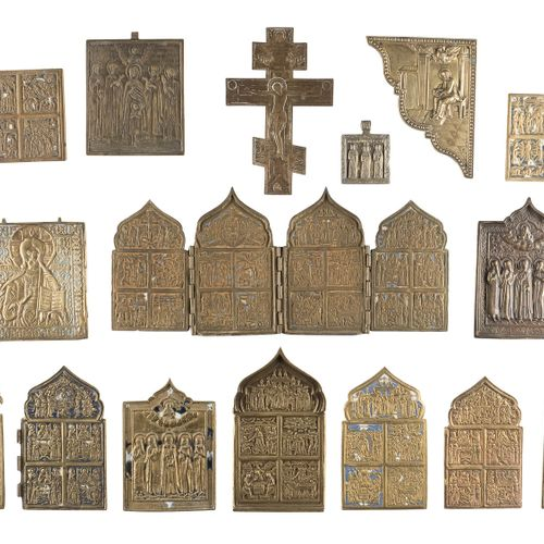 A CRUCIFIX, A QUADRIPTYCH AND 14 BRASS ICONS AND FRAGMENTS SHOWING SELECTED SAIN…