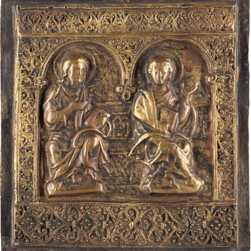 A BRASS RELIEF SHOWING CHRIST AND ST. JOHN THE EVANGELIST 20th century Cast in r…