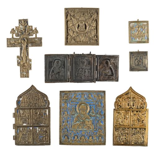 A TRIPTYCH SHOWING DEISIS, A CRUCIFIX AND EIGHT BRASS ICONS AND FRAGMENTS SHOWIN…