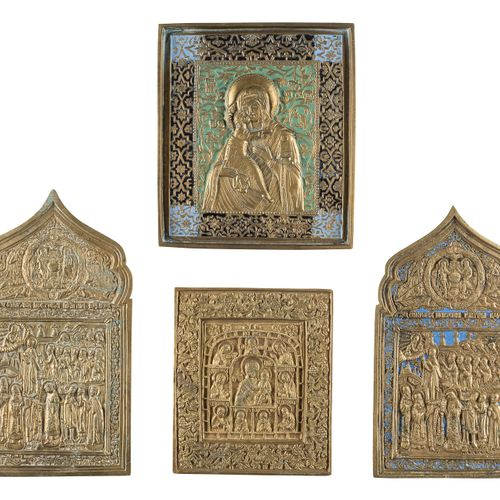 FOUR BRASS ICONS SHOWING THE IMAGES OF THE MOTHER OF GOD Russian, 19th century C…