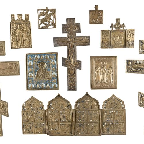 THREE CRUCIFIXES, QUADRIPTYCH, TRIPTYCH AND FIVE BRASS ICONS SHOWING SELECTED SA…